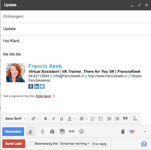 In Gmail een mailtje op een ander tijdstip verzenden hoe doe je dat?